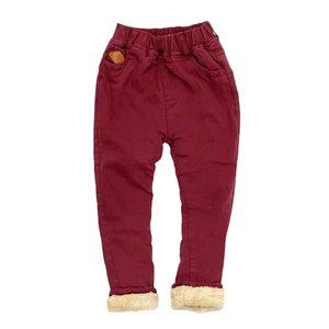 Burgundy Fleece Lined Jogger Pants